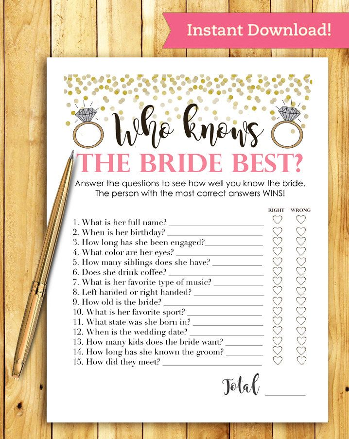 Bridal Shower Game Download - Who Knows the Bride Best - Coral and Gold - Instant Printable Digital Download - diy Bridal Shower Printables by ImageOak on Etsy https://www.etsy.com/listing/272891870/bridal-shower-game-download-who-knows