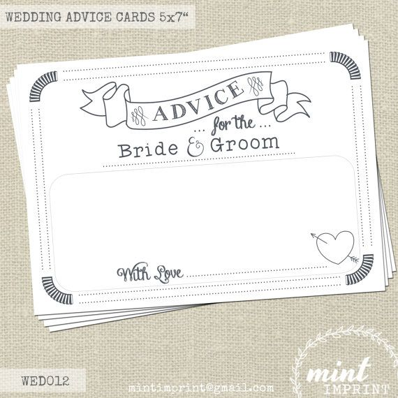 Wedding Advice Cards for the Bride and Groom , Wedding Keepsake Words of Wisdom by Mint Imprint , Wedding Decor Printable Instant Download on Etsy, $4.78