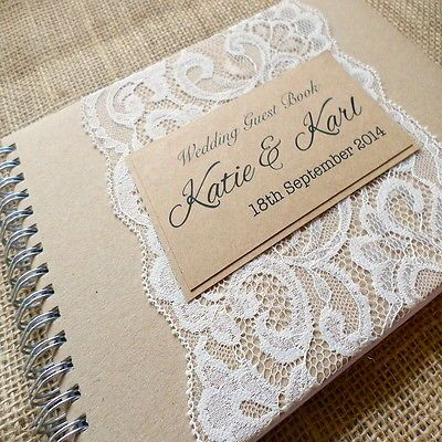 COUNTRY LACE HANDMADE WEDDING GUEST BOOK - PERSONALISED VINTAGE GUEST BOOK