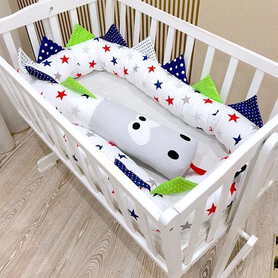 Baby crib bumper Blue Red Grey STARS Kind DRAGON Pillow