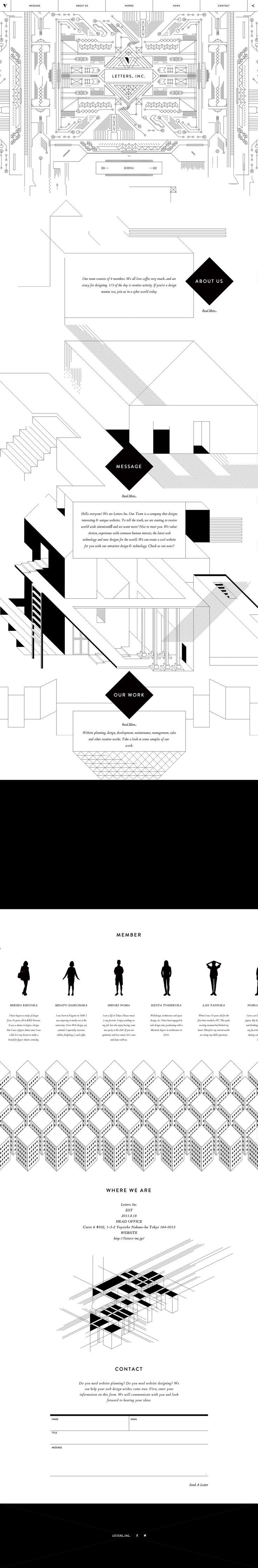 Unique Web Design, Letters Inc. #WebDesign #Design (http://www.pinterest.com/aldenchong/)