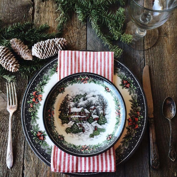 Simple Christmas @amongthesaguaros   Christmas Village from Royal Stafford, vintage silver plate.