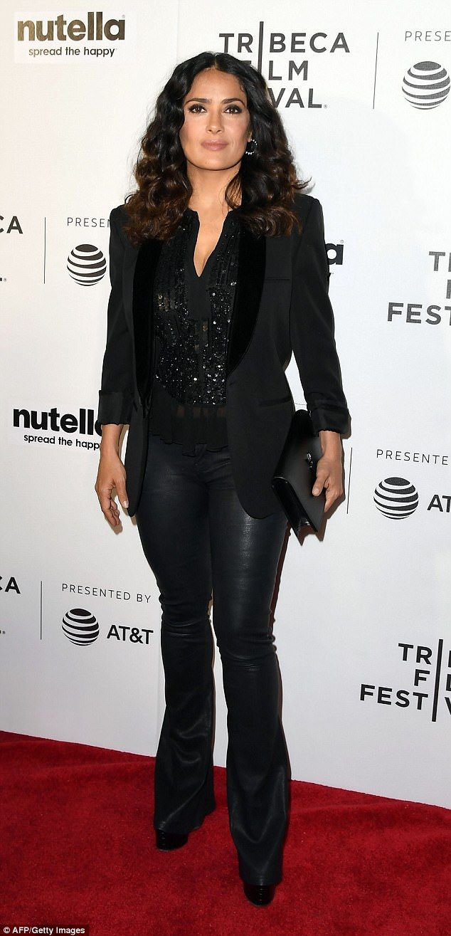 Gorgeous: Salma Hayek, 50, brought her star power to the red carpet of the 11th Hour screening at the Tribeca Film Festival in New York City Friday