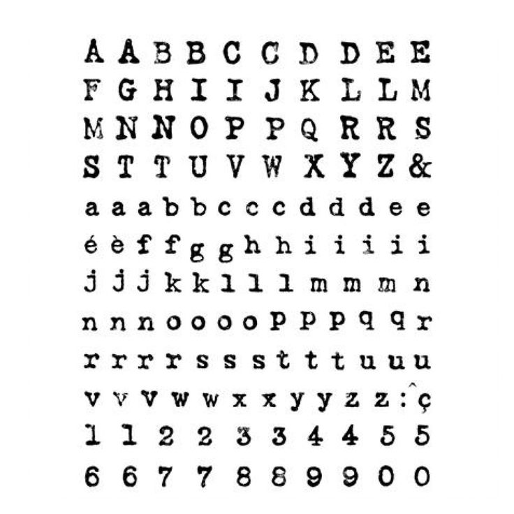 Tampons transparents avec lettres d'alphabet, comme une machine à écrire.    Contient les lettres en majuscules, minuscules et chiffres. Grâce à la...