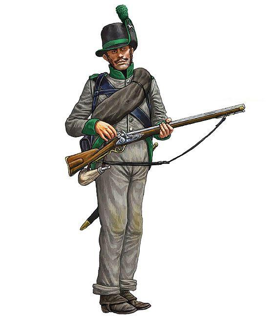 """""""Cacciatore della 1ª compagnia dei Gelernte Jägers del battaglione di avanguardia del contingente di Brunswick, Waterloo 1815"""", Giorgio Albertini"""