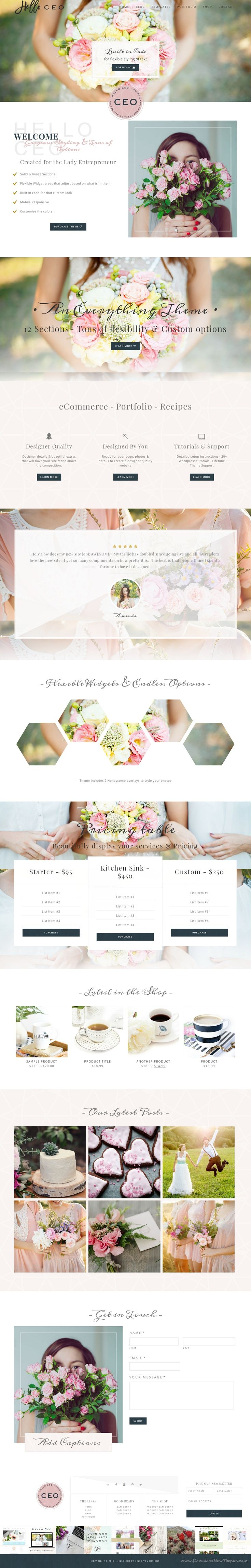 Hello CEO - Genesis WordPress Theme  Hello CEO is a modern & elegant onepage style site. The gorgeous sections on the homepage are versatile and completely customizable. #WordPress #blog #feminine