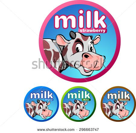 Labels for cow's milk beverage products with a variety of flavors, chocolate, strawberry, melon, and original