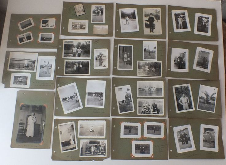 15 Vintage Photo Album Pages from the 1940s Military & Family & Baseball - Named