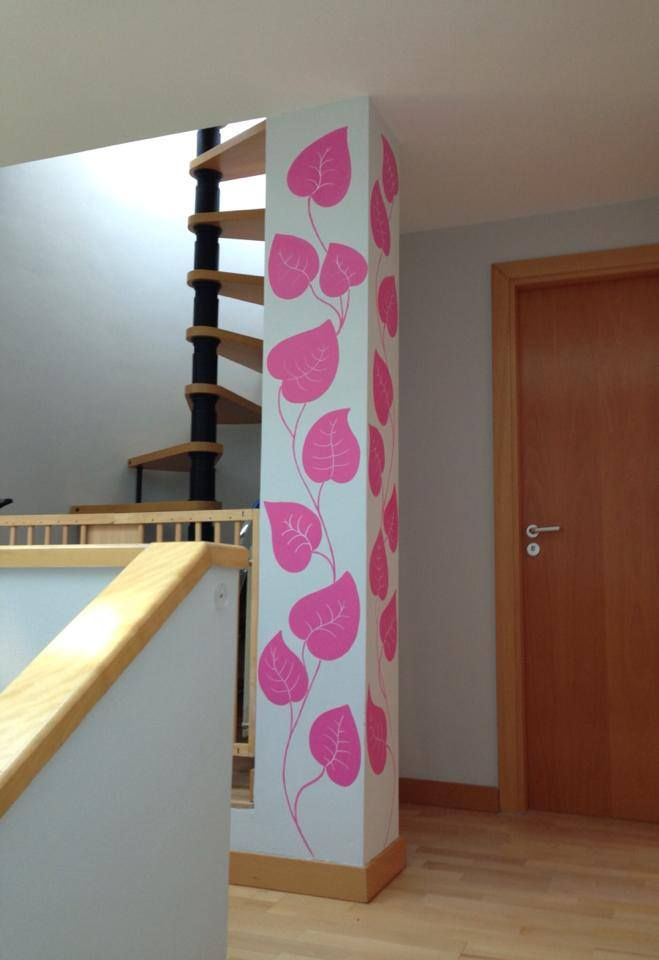 Un toque de color en tu casa murales pintados - Como decorar una columna ...