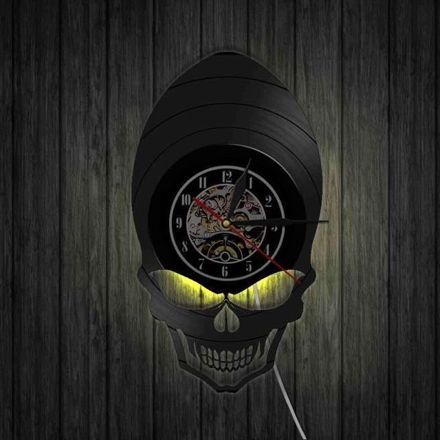 Motorcycles Biker Skull Vinyl Record Art 3d Wall Clock Skullflow Https Www Skullflow Com Collections Skull Gifts Vinyl Record Art 3d Wall Clock Record Art