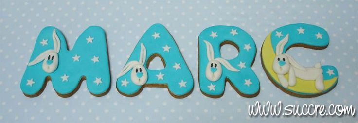 Cookie Letters - Tu nombre en galletas: Marc -  Galletas para el nacimiento de Marc - Baby cookies - Letras de galleta