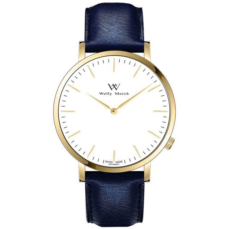 A round gold case with classically curved lugs,elegant hue, the gold hands match the case colors and underscore their prominent design,color-coordinated leather strap, inimitable and upscale watch.