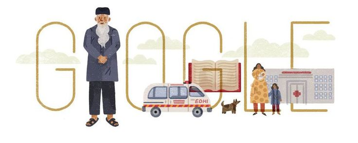Google honors humanitarian Adbul Sattar Edhi with a doodle     - CNET Google celebrates the life of humanitarian Abdul Sattar Edhi.                                                      Google                                                  Abdul Sattar Edhis life mission was to help others.  The humanitarian and philanthropist spent his years delivering medicine and supplies to people in Pakistan and to survivors of disasters like Hurricane Katrina around the world. He was known as the…