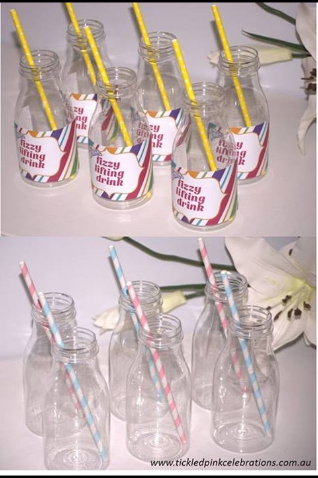 Milk bottles are a great party table addition, theme with coloured straws or party labels!