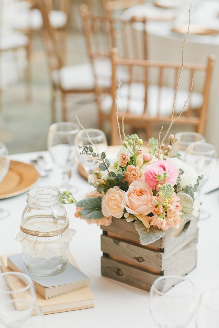 pastel coral pink roses in wooden box wedding tablescape