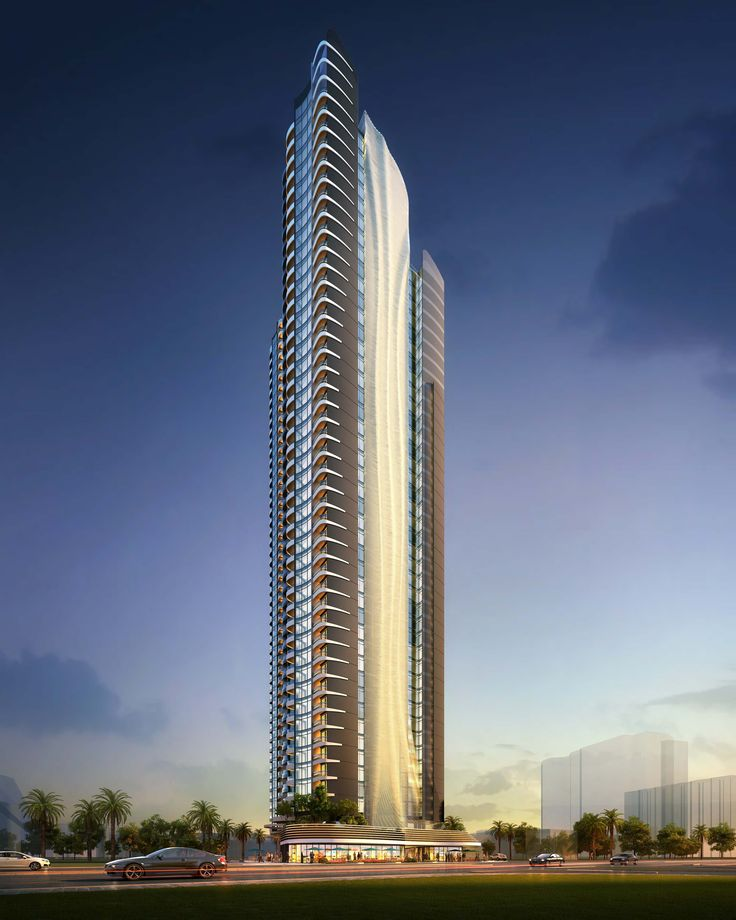 Elegance: twin towers, 43 and 50 storeys, create a landmark building along the busy Gold Coast Highway, QLD, Australia, featuring a sculptural wrap-around facade, mixed-use areas including retail, restaurant and office spaces in the fast-growing precinct. Raunik Design Group Architects