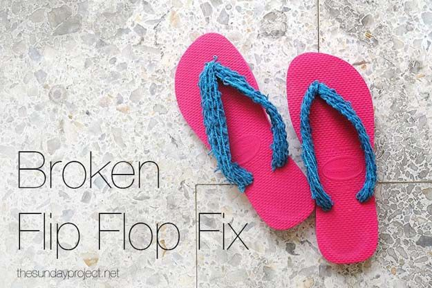 DIY Sandals and Flip Flops - Broken Flip Flop Fix - Creative, Cool and Easy Ways to Make or Update Your Shoes - Decorate Flip Flops with Cheap Dollar Store Crafts and Ideas - Beaded, Leather, Strappy and Painted Sandal Projects - Fun DIY Projects and Crafts for Teens and Teenagers http://diyprojectsforteens.com/diy-sandals  ~ Great pin! For Oahu architectural design visit http://ownerbuiltdesign.com