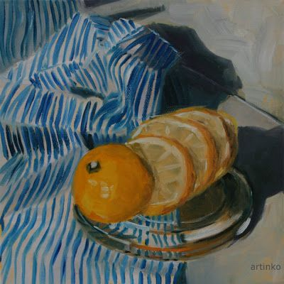 Lemonfresh- oil painting   In extreme hot that we have in Europe I paint a fresh painting ... a lemonfresh...