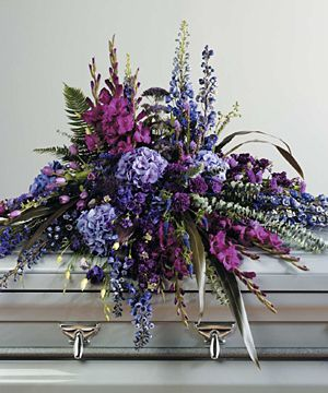purple and red casket spray | Wildflower Casket Spray
