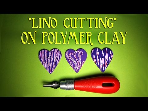 lino cutting on polymer clay tutorial