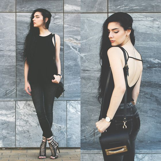 Holynights Claudia - Style Moi Top, Rum Jumgle Jeans, Young Hungry Free Bag, Loud Look Lace Up Shoes - All black