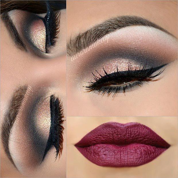 Black & Gold Eye Makeup Look + Burgundy Matte Lips