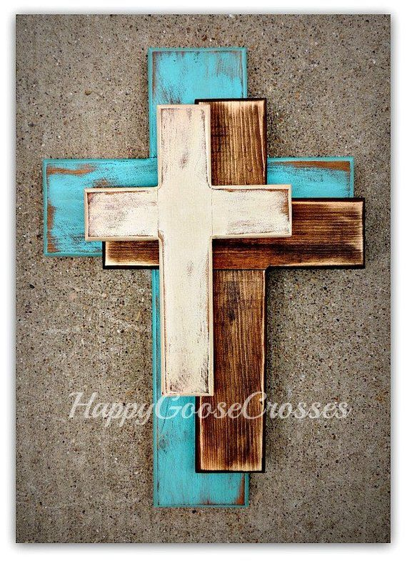 Wall Wood Cross Offset Medium Antiqued Turquoise Stain And