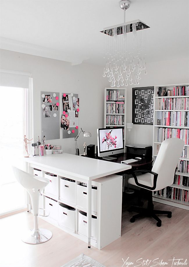 pink, grey and black dream home office