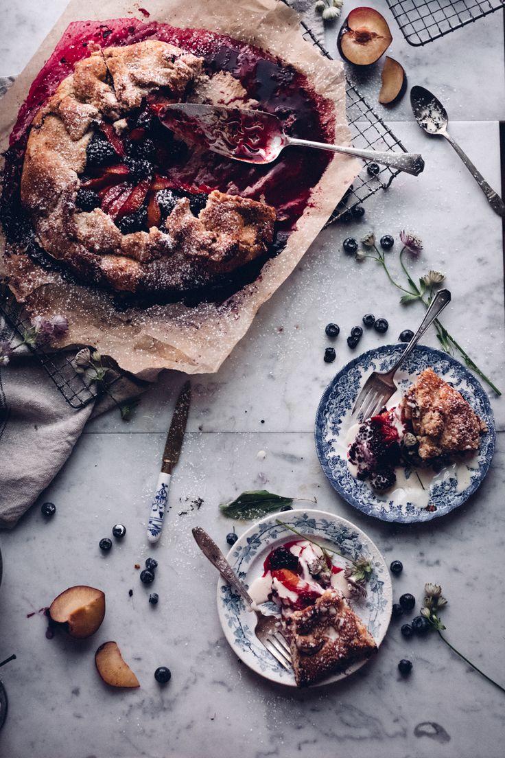 blackberry plum galette with earl grey cream
