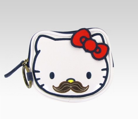 Hello Kitty with a mustache! Love!Design Collection, Moustaches Coins, Coins Purses, Coins Bags, Bags Purses Wallets, Kitty Kitty, Hellokitty Moustaches, Hello Kitty, Kitty Coins