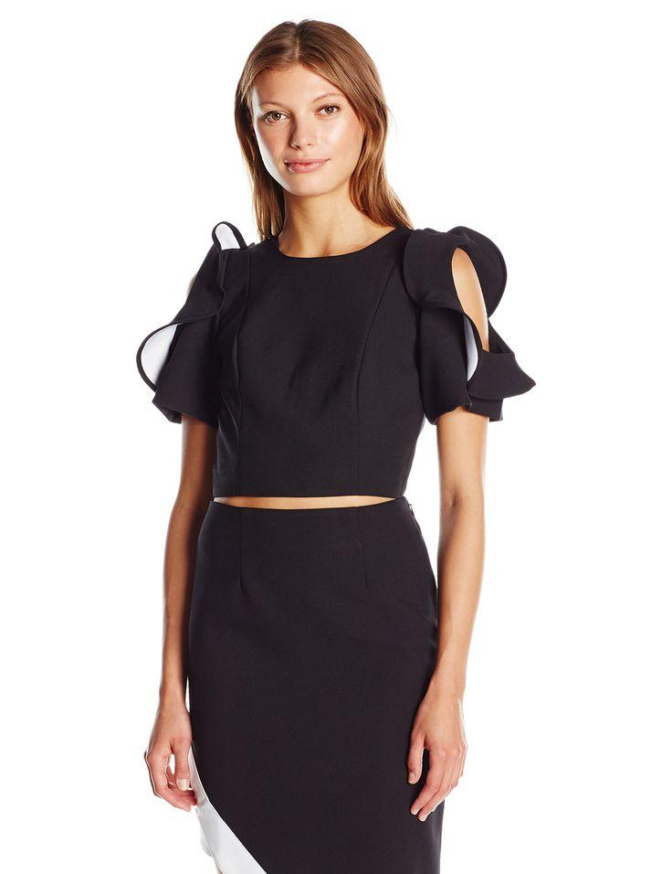 KENDALL + KYLIE Women's Flutter Sleeve Top, Black, S. Crop top. Flutter