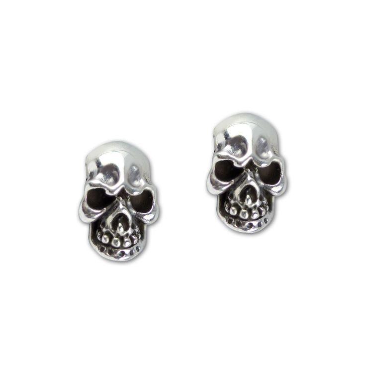 1 Paar Ohrringe Totenkopf Evil Skull aus 925er Sterling Silber Größe: 1,0 x 0,6 cm Lieferung im Schmuckkarton