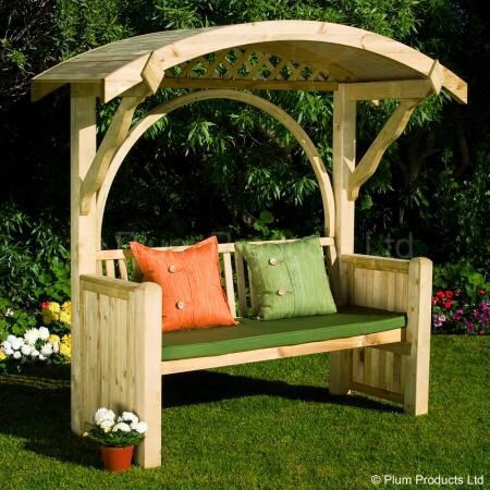 Great looking garden style bench. Would make a great focal point. I would fashion the legs so that they attach w/bolts to stakes driven into ground to keep it from tipping over.   I also would use a dark colored stain..!!