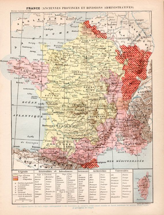 1897 France Antique Map Print Vintage Lithograph by Craftissimo