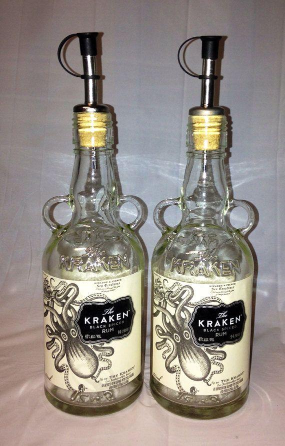 Kraken Liquor Bottle Oil Vinegar Set Recycled Glass