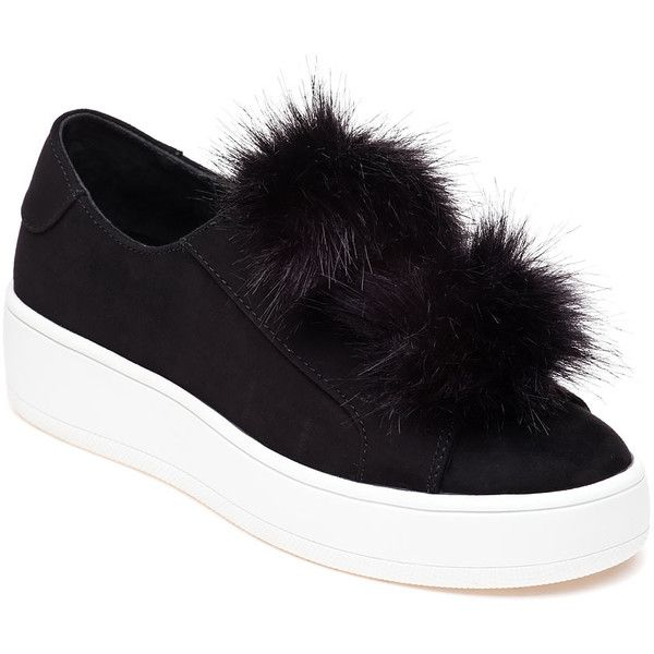 STEVE MADDEN Bryanne Black Pom Pom Sneaker ($89) ❤ liked on Polyvore featuring shoes, sneakers, black suede, stretch sneakers, black rubber sole shoes, stretching shoes, platform trainers and pom pom shoes
