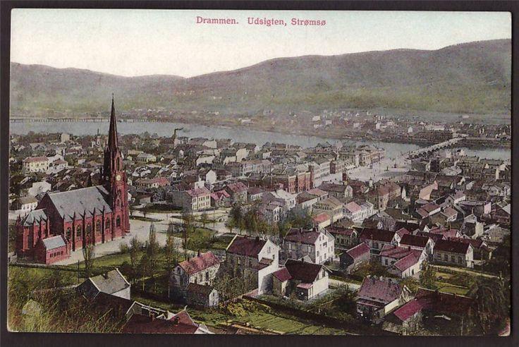 Udsigt til Strømsø, Bragernæs kirke og bomiljø på Bragernæs tidlig 1900.