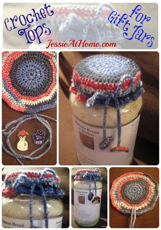 Crochet Tops for Gift Jars Free Crochet Tutorial from Jessie At Home: