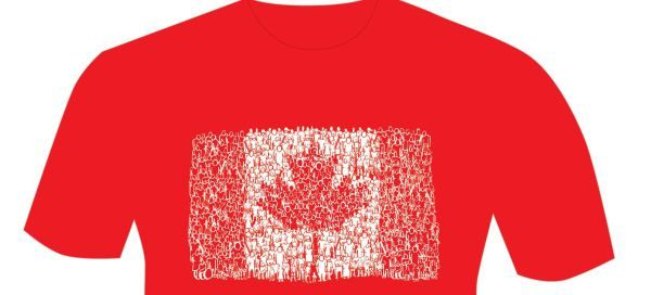 Canada Day Tshirt with all the lil people in the flag which ended up on a postage stamp now on a T this year! This will be a collectible get a  FREE red/white one one on Canada Day at Manitoba Legislature corner of Broadway and Kennedy.