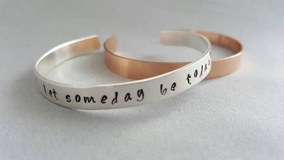Check out this item in my Etsy shop https://www.etsy.com/ca/listing/517169689/personalized-cuff-bracelet-date-necklace