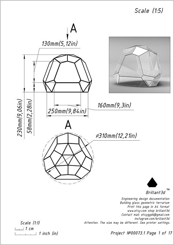 Terrarium Brillant3d Printable Pattern Geometric Glass Terrarium