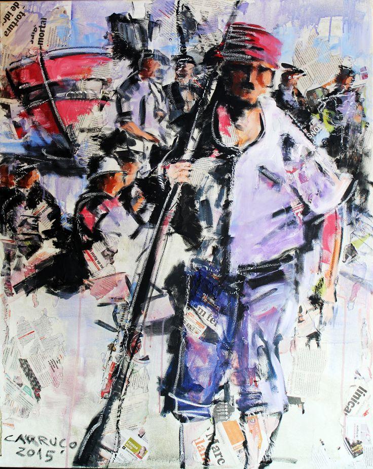 """Pescador"" / ""Fisherman"" Técnica mista sobre tela / Mixed media on canvas 100 x 80 cm 2015"