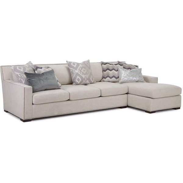 Demeter Right Chase Sectional Sofa (61.455 HRK) ❤ liked on Polyvore featuring home, furniture, sofas, beige, beige sofa, nailhead sectional, nail head sofa, nailhead trim sofa and antique white furniture