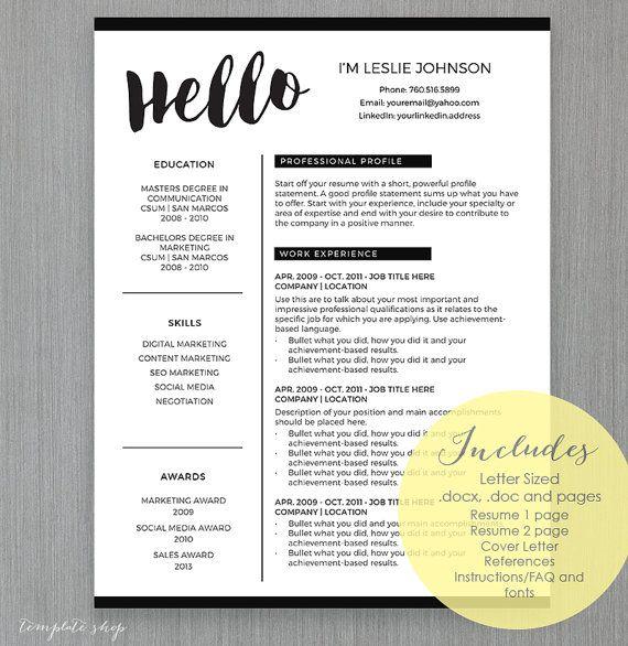 Hello Resume Template Unique Downloadable Cover Letter Intro
