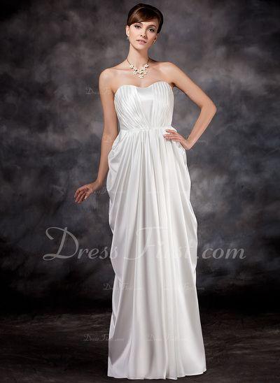 Corte imperial Escote corazón Vestido Charmeuse Dama de honor embarazada con Volantes (045016924)