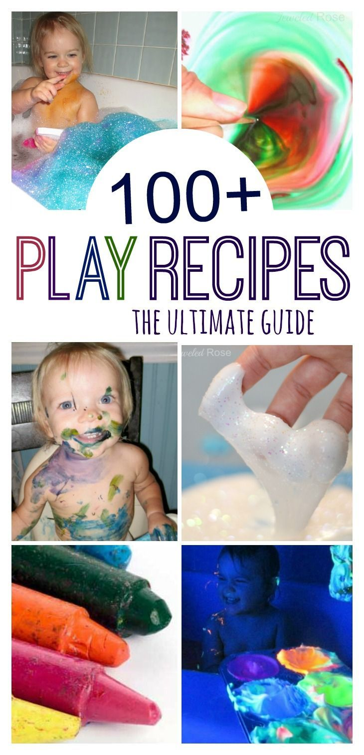 The ultimate collection of recipes for PLAY- slimes, gaks, goops, goos, doughs, paints, chalk, glues, glowing recipes, and SO MUCH MORE! Need a recipe for art or play? It's here!