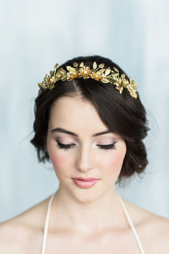 The MILLICENT Gold Leaf Crown is from our new 2016 Collection  We absolutely adore this truly beautiful gilted crown. Beautiful handstamped