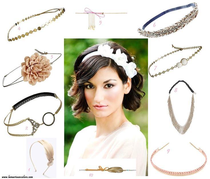 Coiffure de mariée cheveux courts : 10 accessoires