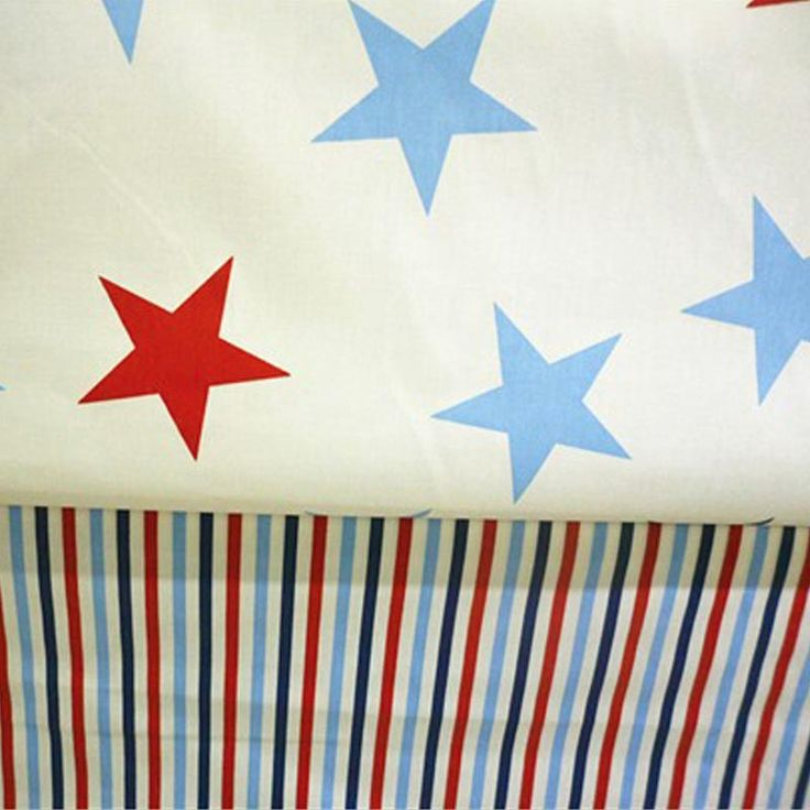 50*160cm 2 pcs/LOT 100% cotton twill white with red blue stars stripe nordic wind fabrics DIY patchwork chic tent Quilting cloth