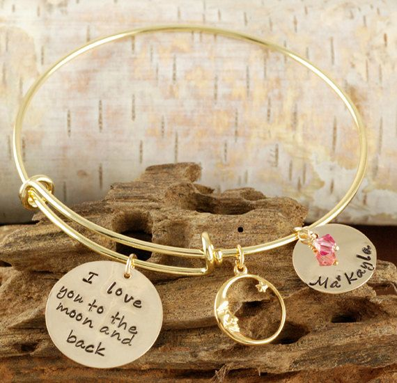 Personalized Bangle Bracelet, Love you to the moon and back Jewelry - Gold Bangle Charm Bracelet - Alex and Ani Style - Name Bracelet